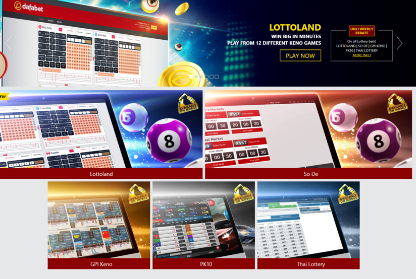 Lotteries page of DafaBet